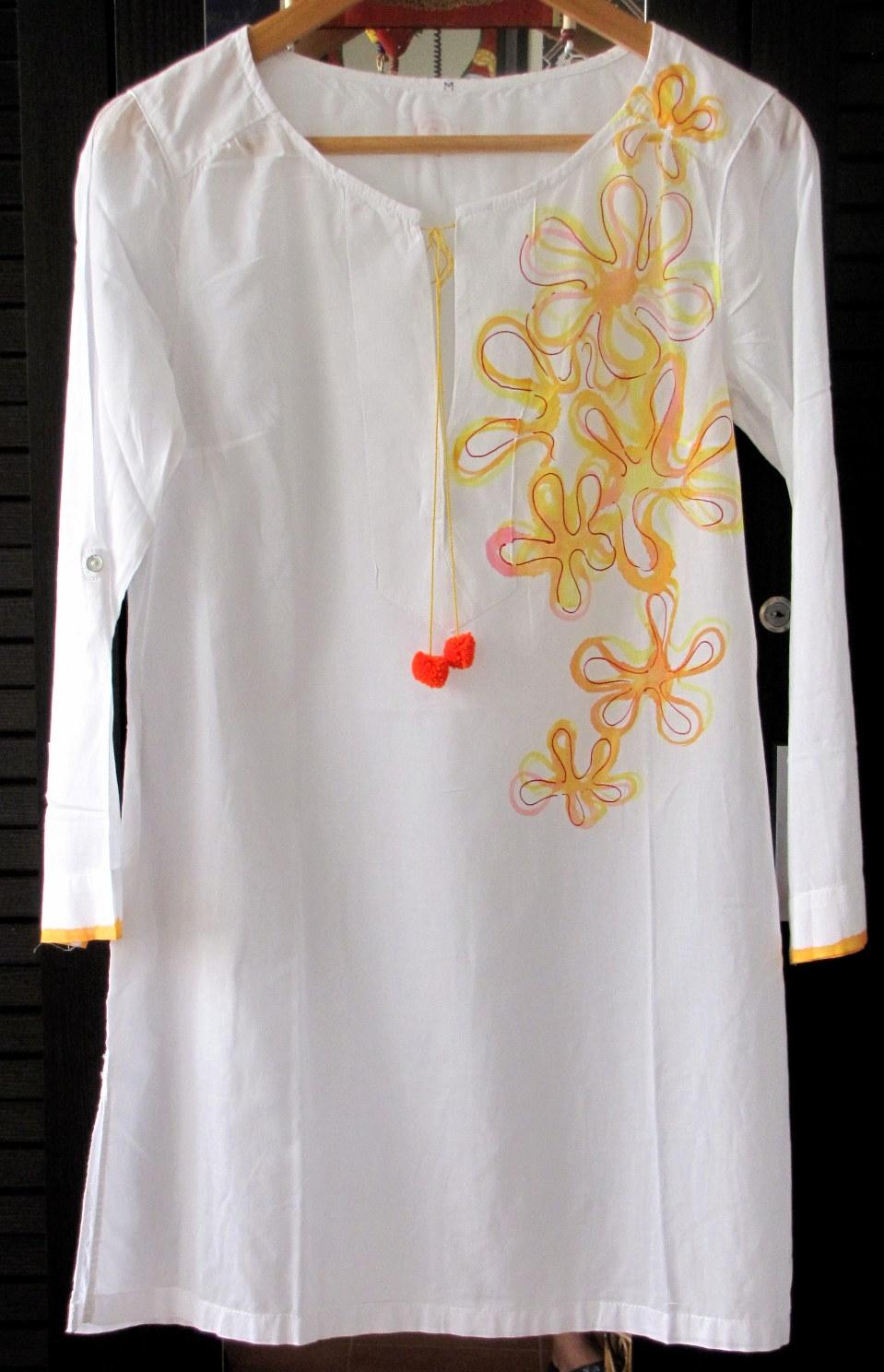 hand painted white cotton kurti | Jugniz for fabric painting designs on white kurtis  557ylc